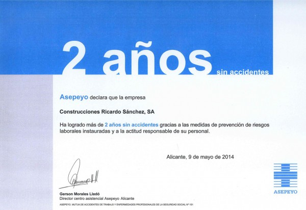 ASEPEYO 2 años sin accidentes