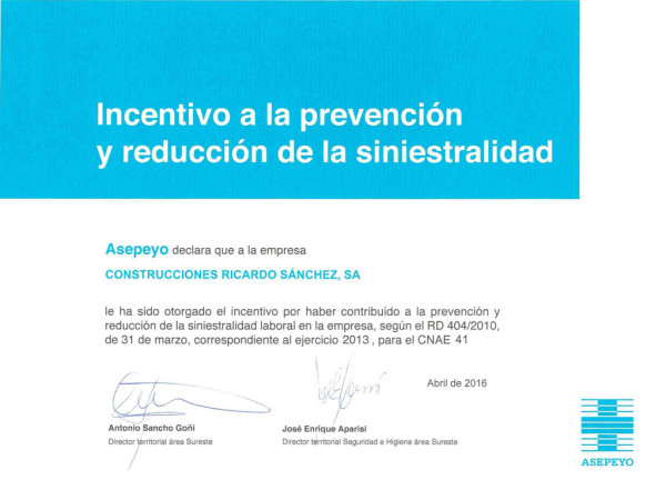 Incentivo a la prevención y reducción de la siniestralidad